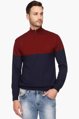 WILLS LIFESTYLE Mens Zip Through Neck Colour Block Sweatshirt