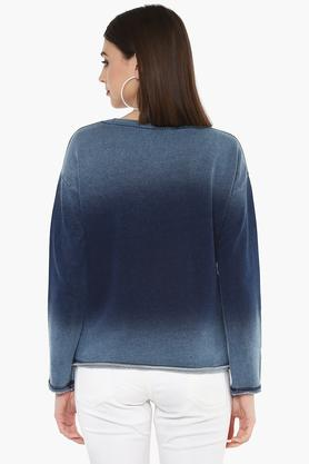 Womens Round Neck Ombre Sweatshirt
