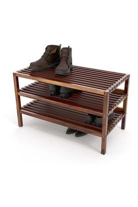 Brown Transitional Styled Shoe Rack with 3 Cubbies