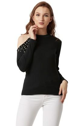 Womens Round Neck Solid Cut-Out Top