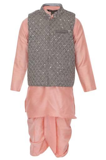 Boys Mandarin Collar Embellished Kurta, Dhoti and Jacket Set