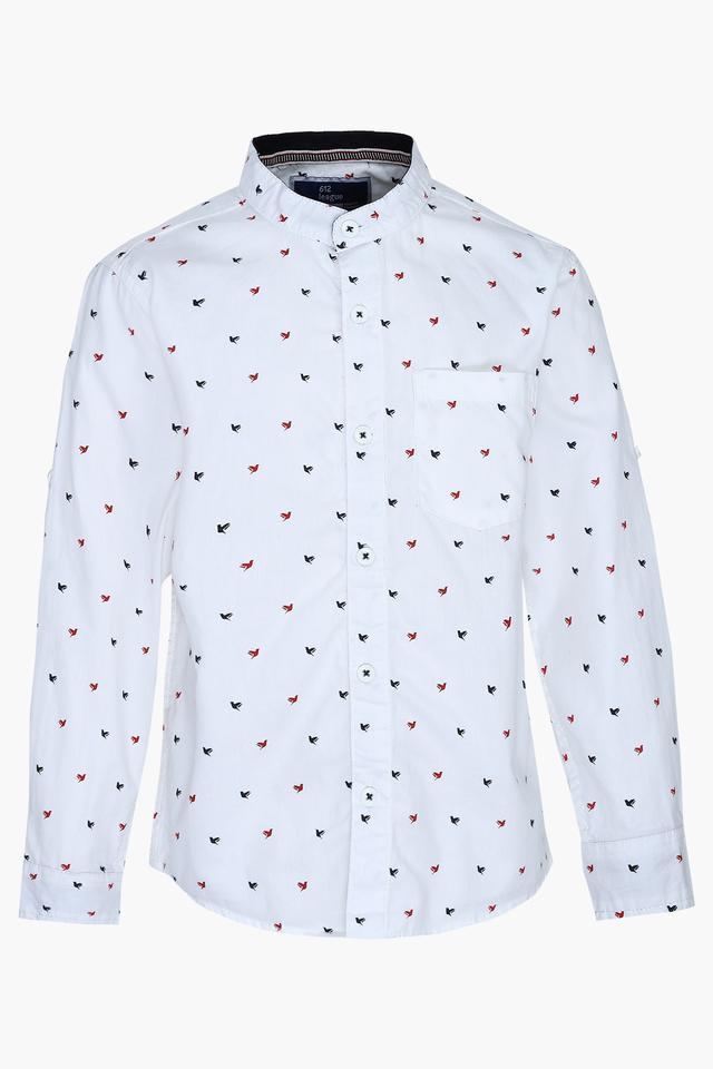 Boys Mandarin Neck Printed Shirt