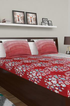 SPACES Printed Double Bed Sheet With Pillow Cover
