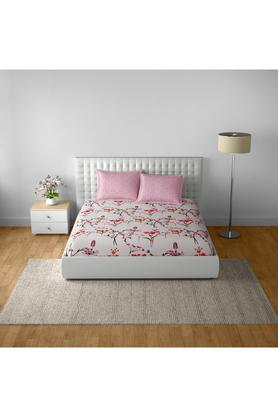SPACESCotton Printed Double Bedsheet With 2 Pillow Covers