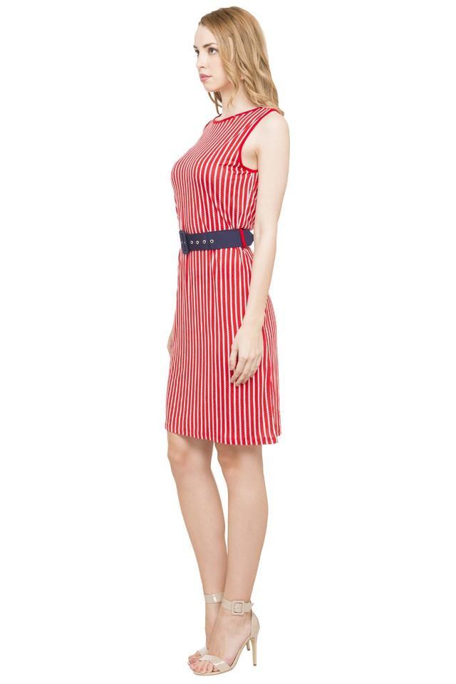 Womens Round Neck Striped Knee Length Dress