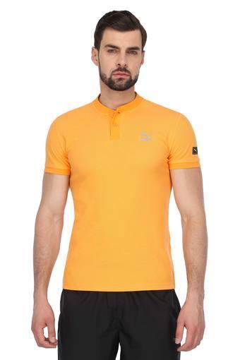 Mens Mandarin Collar Solid T-Shirt