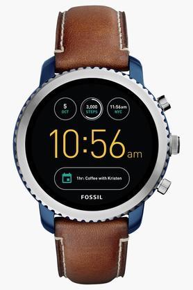 FOSSILMens Q Explorist Luggage Leather Gen 3 Smart Watch - FTW4004