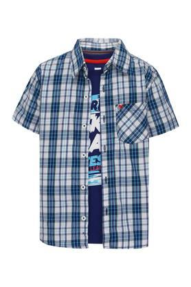 Boys Checked Shirt with Printed T-Shirt