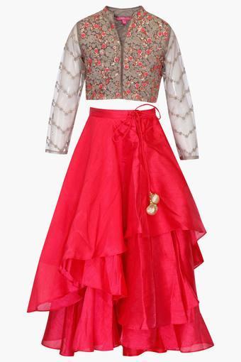e0a82859c6 Buy BIBA GIRLS Girls Mandarin Neck Embroidered Lehenga and Choli Set    Shoppers Stop