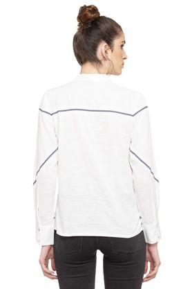Womens Mandarin Collar Slub Shirt