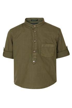 Boys Band Collar Slub Shirt