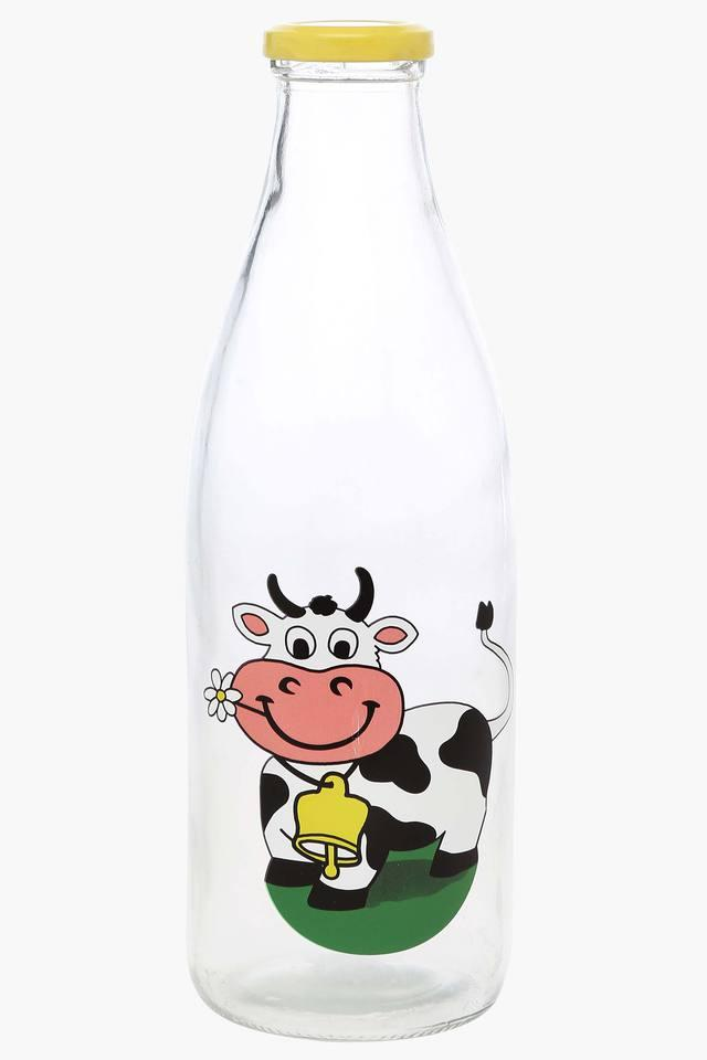 Round Printed Milk Bottle with Lid - 1L
