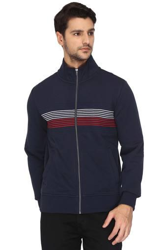 76d839d4 Buy TOMMY HILFIGER Mens Zip Through Neck Striped Sweatshirt | Shoppers Stop