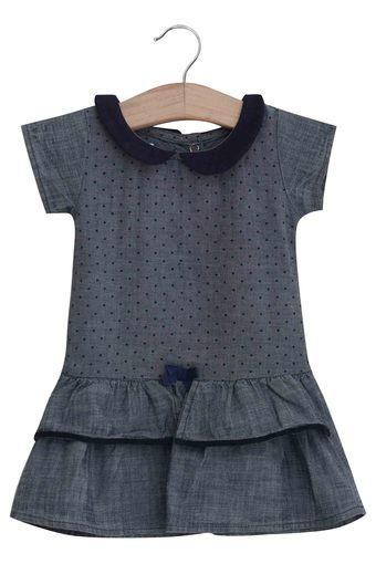 Girls Collared Printed Dress