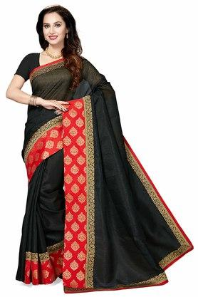 ISHIN Womens Woven Zari Border Art Silk Saree