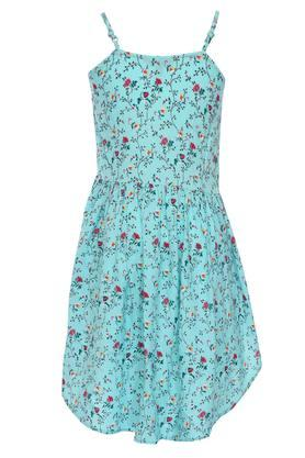 Girls Spaghetti Neck Printed Knee Length Dress