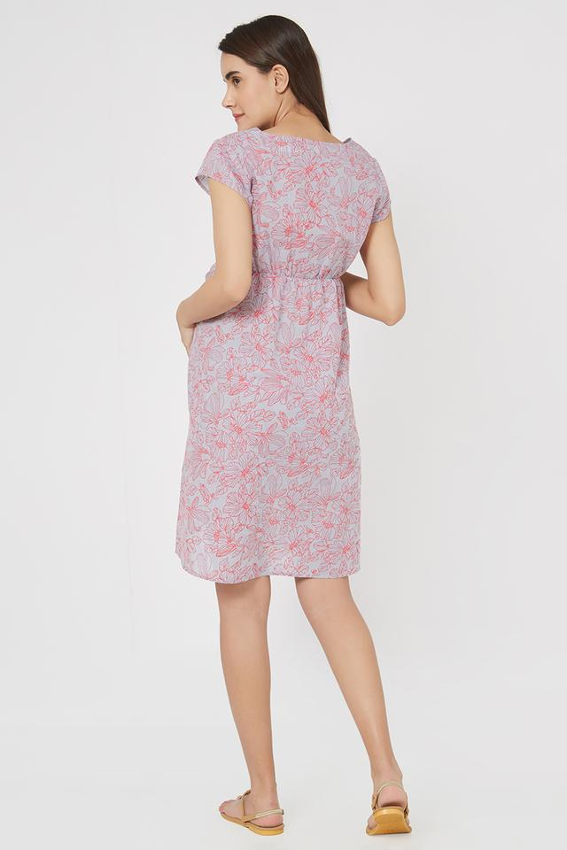 Maternity Round Neck Floral Print Maternity Dress