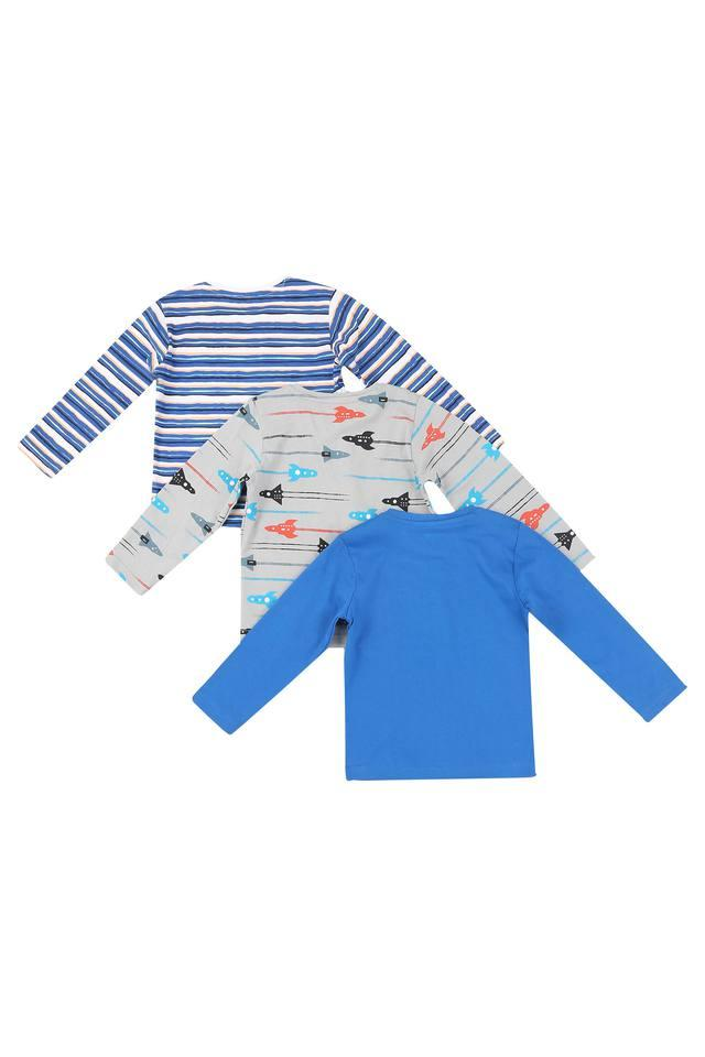 Boys Round Neck Striped and Printed Tee - Pack Of 3