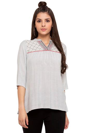 Womens Mandarin Collar Slub Embroidered Top