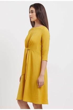Womens Boat Neck Solid A-Line Dress