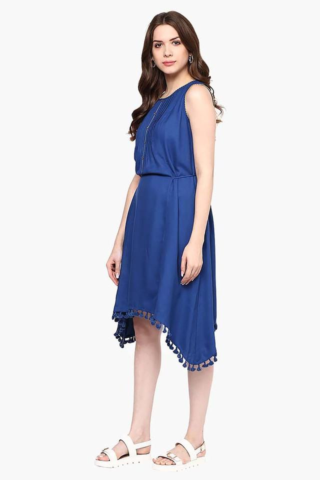 Womens Slim Fit Solid Asymmetrical Dress