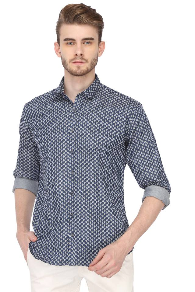 Mens Slim Collar Printed Shirt
