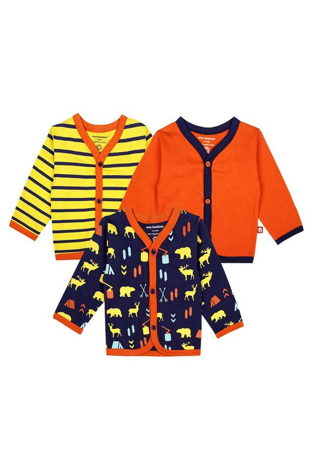 Boys V- Neck Printed Striped and Solid Jhabla - Pack Of 3