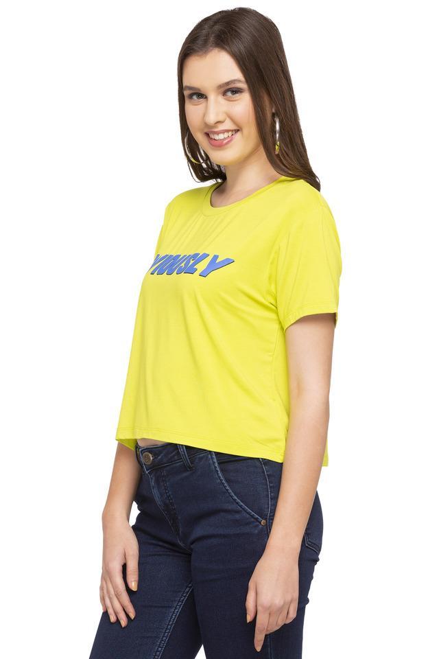 Womens Round Neck Graphic Print T-Shirt