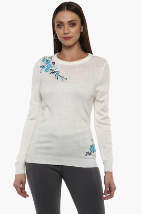 LIFEWomens Round Neck Embroidered Sweater
