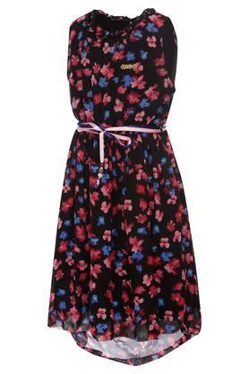 Girls Round Neck Printed High Low Dress