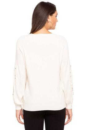Womens Round Neck Embellished Sweater