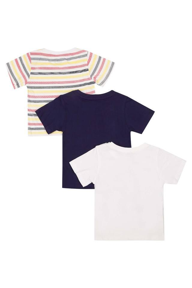 Boys Round Neck Striped Printed and Solid Tee - Pack Of 3