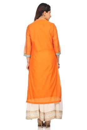 Womens Mandarin Neck Embellished Kurta