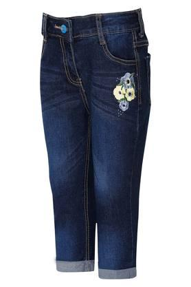 Girls 5 Pocket Solid Capris