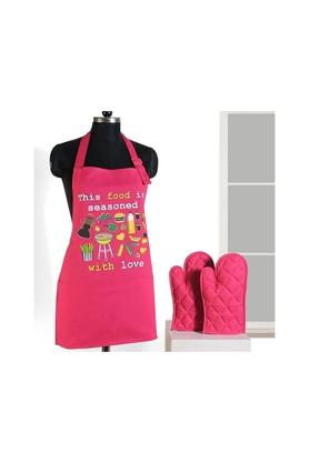 SWAYAMPrinted Adjustable Apron With Oven Mitts - Set Of 3 - 204599797_9557
