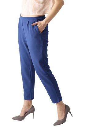 Womens Polyester Solid Trouser