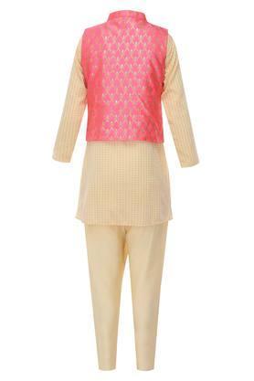 Boys Mandarin Collar Printed Kurta Pyjama and Jacket Set