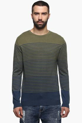 UNITED COLORS OF BENETTONMens Round Neck Stripe Sweater - 203518417_9407