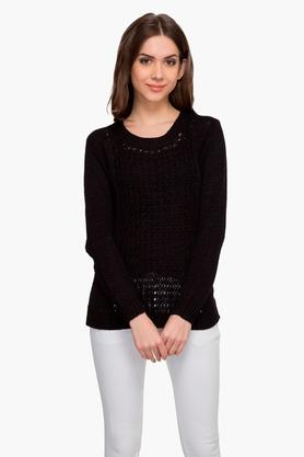 MARIE CLAIREWomens Solid Open Knit Sweater