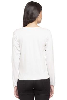 Womens Round Neck Slub Applique Sweatshirt