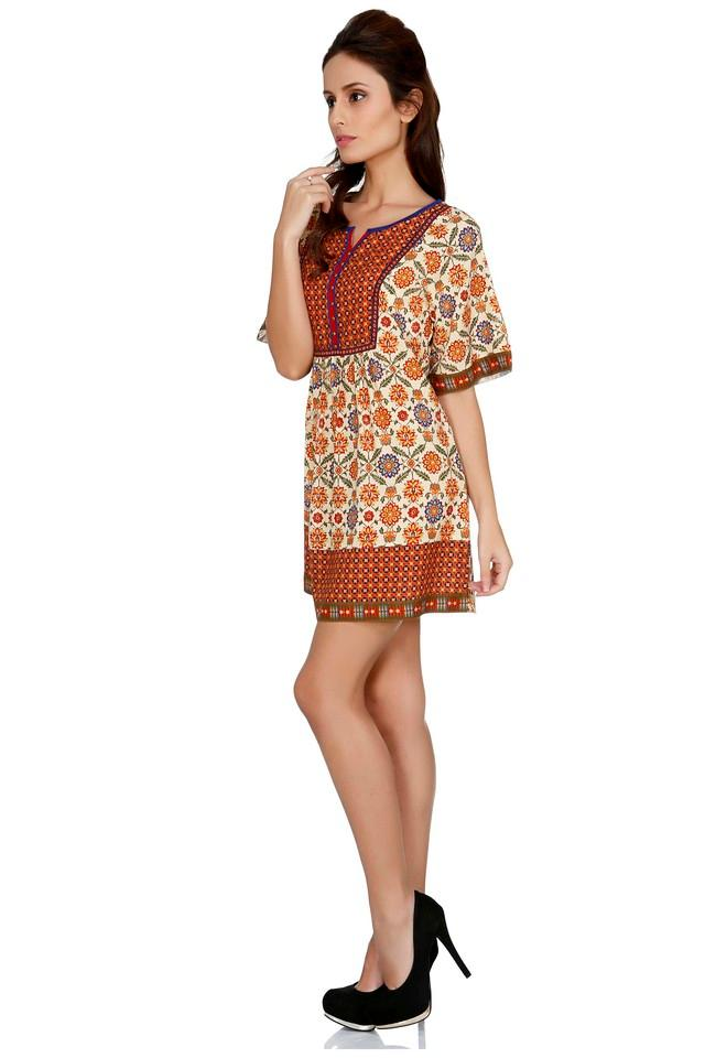 Womens Notched Neck Printed A-Line Dress