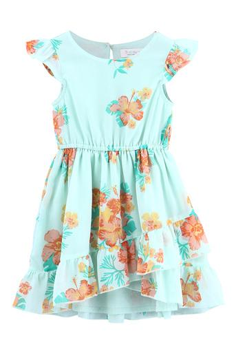 Girls Round Neck Tropical Print Flared Dress