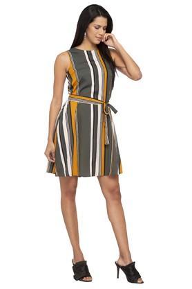 Womens Round Neck Stripe Shift Dress