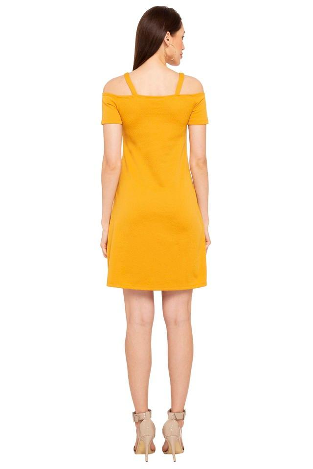 Womens Off Shoulder Neck Self Pattern A-Line Dress