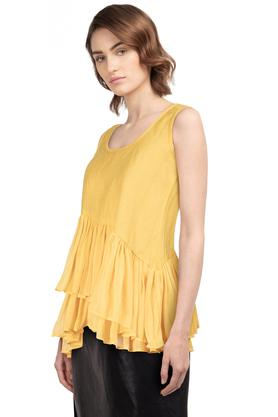 Womens Round Neck Solid Ruffled Flared Top
