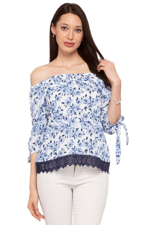 Womens Off Shoulder Neck Printed Top