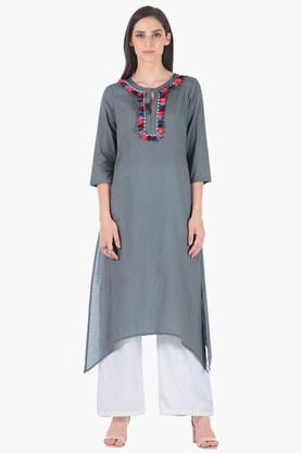 INDYA Womens Key Hole Neck Solid Regular Fit Kurta