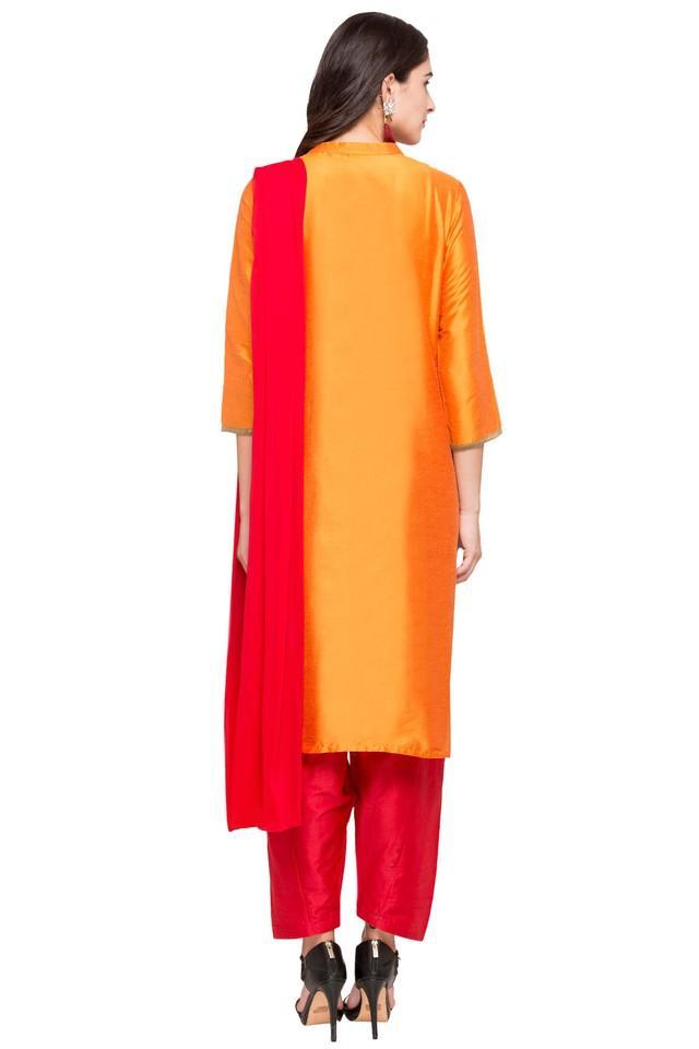 Womens Mandarin Neck Embroidered Salwar Suit