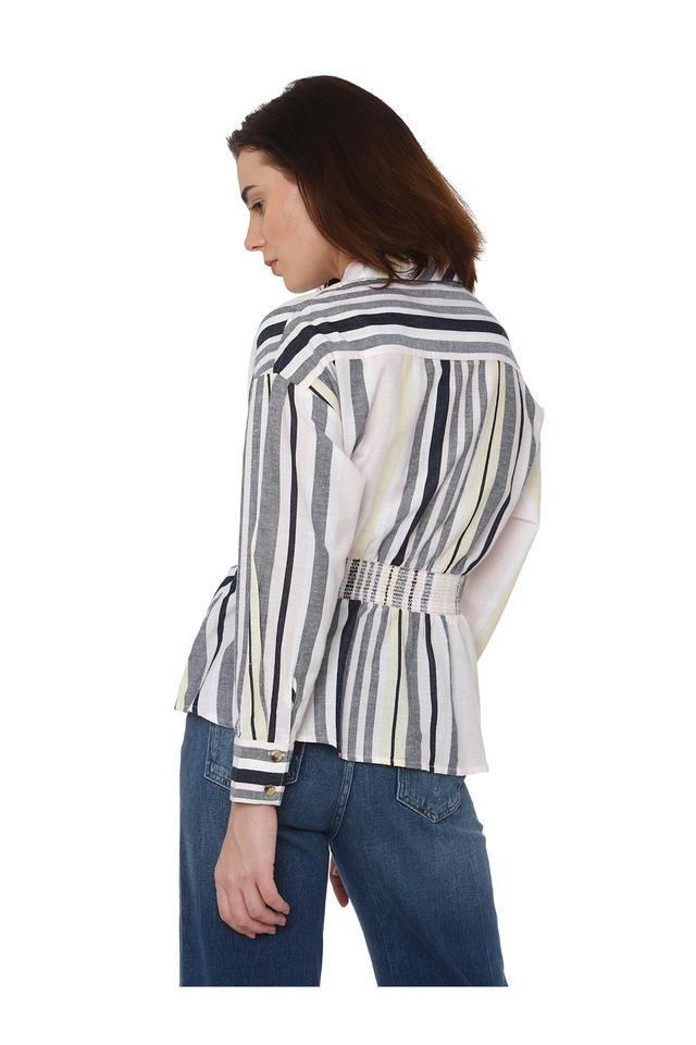 Womens Striped Woven Top