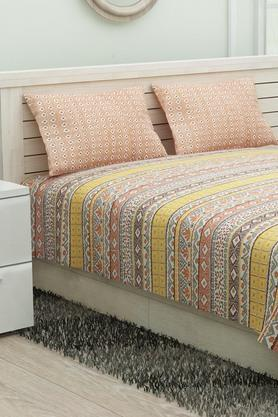 IVYPoly Cotton Printed King Bed Sheet With Pillow Cover - 203281424